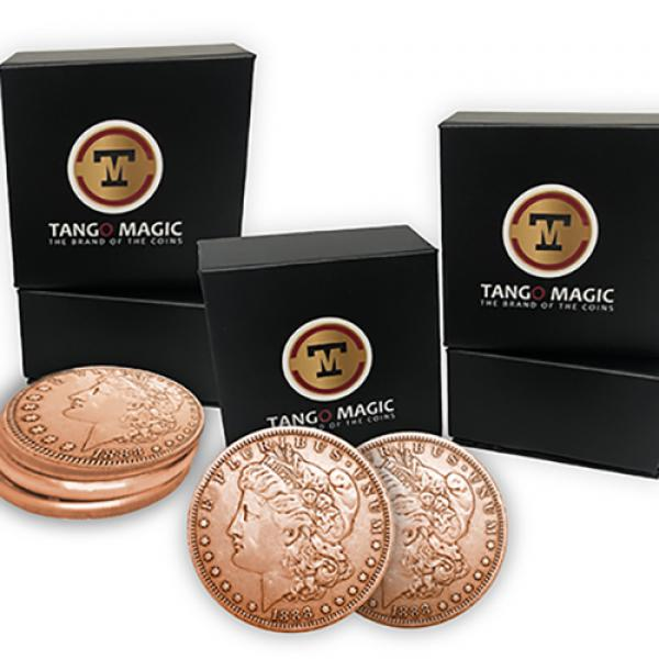 Copper Morgan Expanded Shell plus 4 four Regular Coins (Gimmicks and Online Instructions) by Tango Magic
