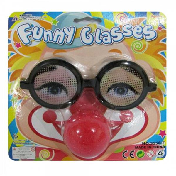 Joke Glasses with Clown Nose - 7.5 x 7.5 inch