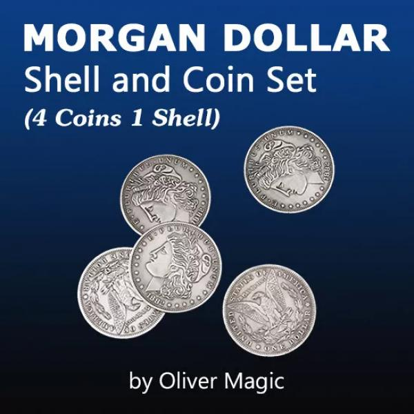 Morgan Dollar Shell and Coin Set (4 Coins 1 Shell)...