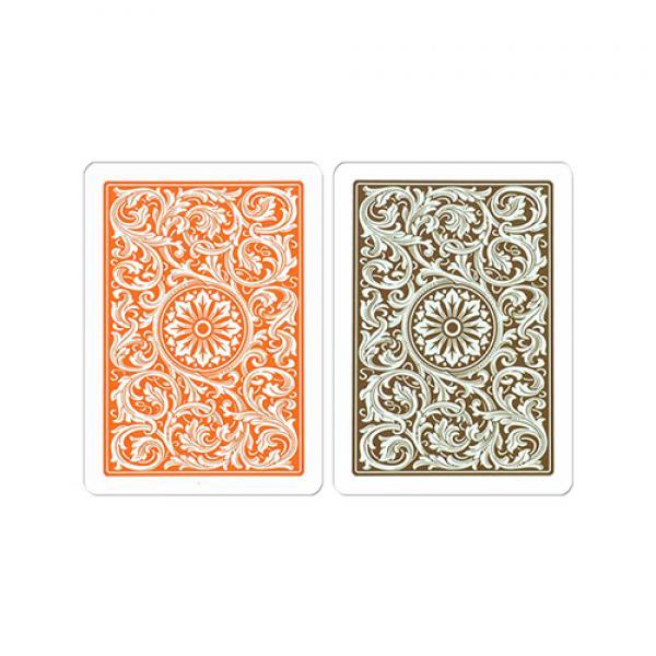 Copag 1546 Plastic Playing Cards Poker Size Regular Index Orange/Brown Double-Deck Set