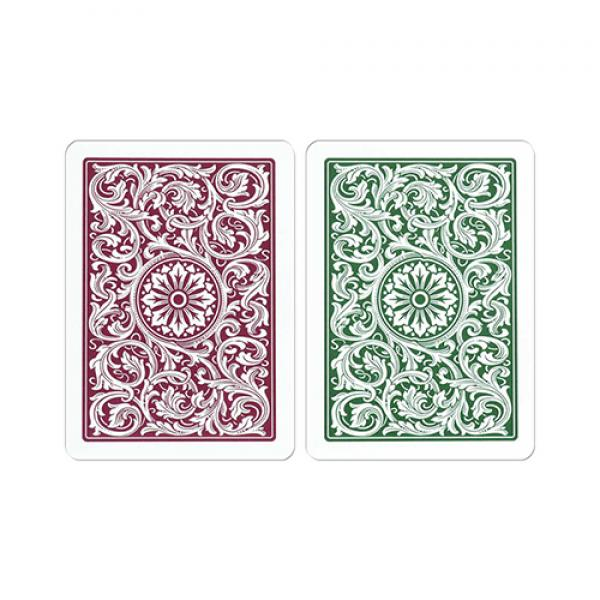 Copag 1546 Plastic Playing Cards Poker Size Regular Index Green and Burgundy Double-Deck Set